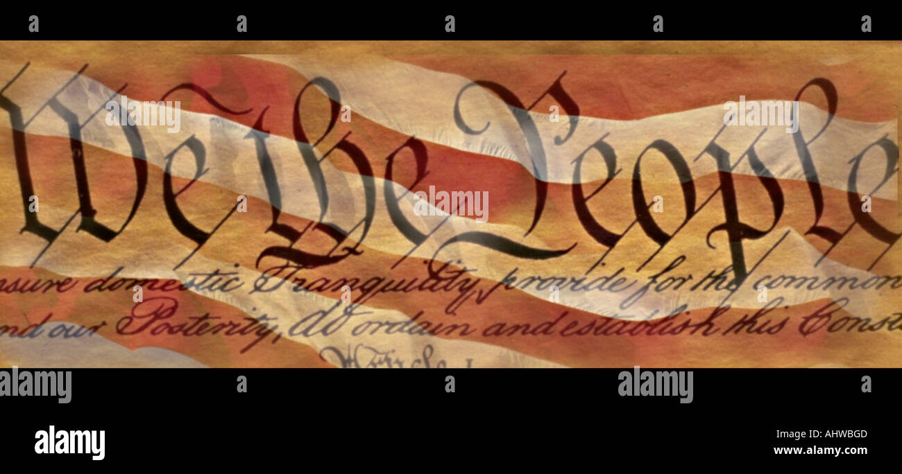 This is the preamble to the U S Constitution that starts with the words showing We the People It is set against a background of - Stock Image
