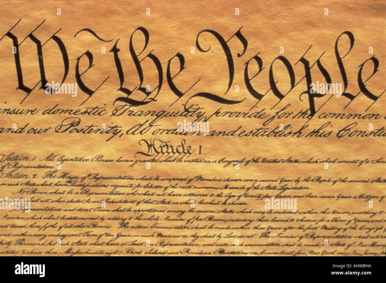 This is the Preamble to the U S Constitution It starts with the phrase We The People and shows only some of the writing from - Stock Image