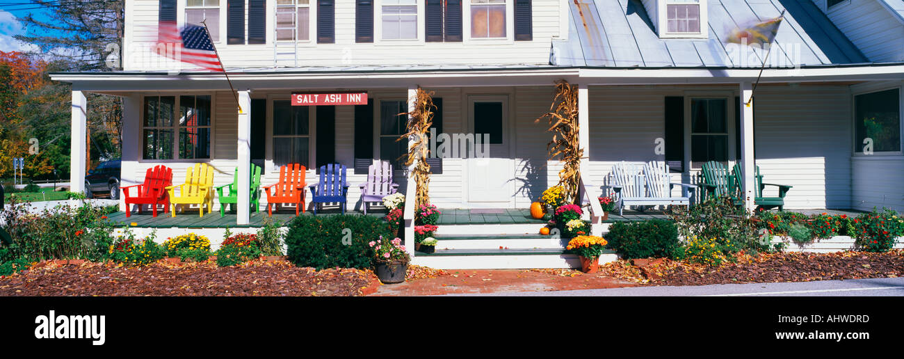 This is the Salt Ash Inn Bed and Breakfast It is a large white house with a large front porch There are brightly Stock Photo