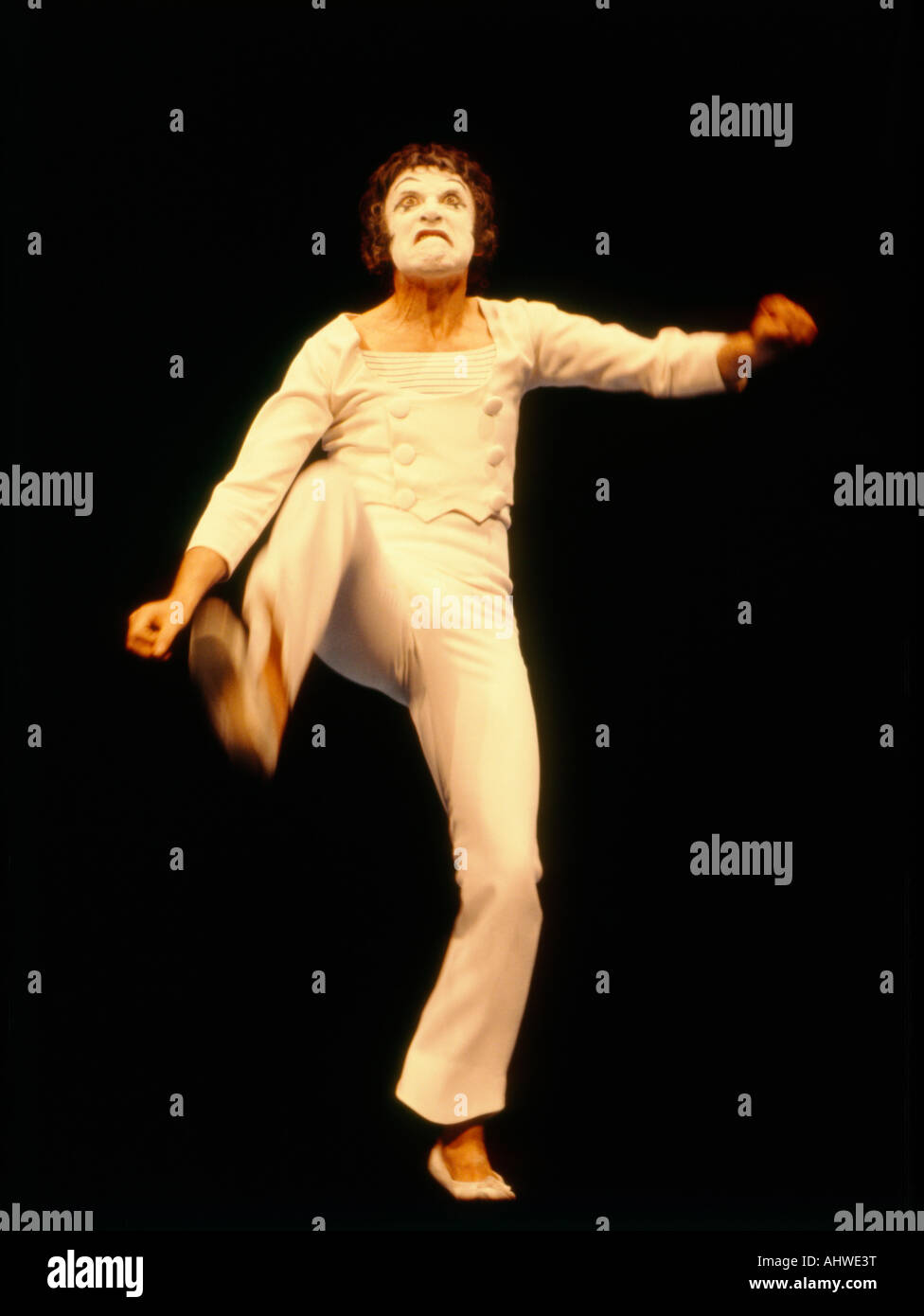 famed french mime artist marcel marceau - Stock Image