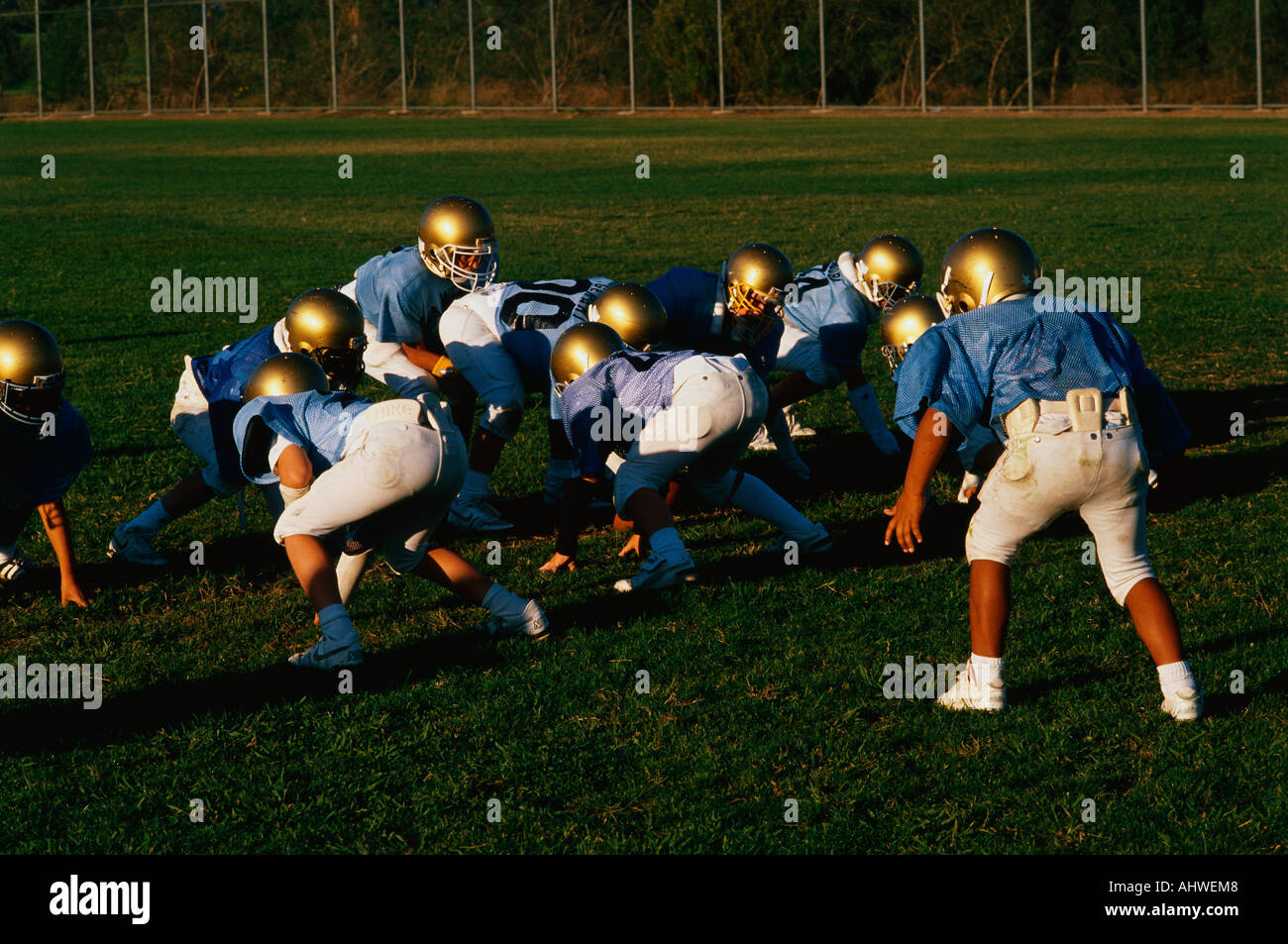 These are the players in a junior league football practice in Brentwood California - Stock Image