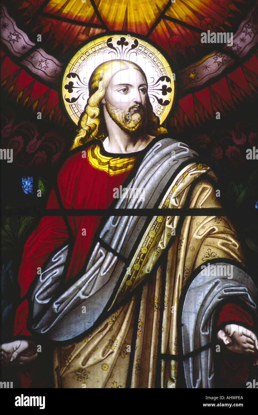 Stained glass window showing Jesus Christ in All Saints Parish Church Leamington Spa Warwickshire England UK - Stock Image
