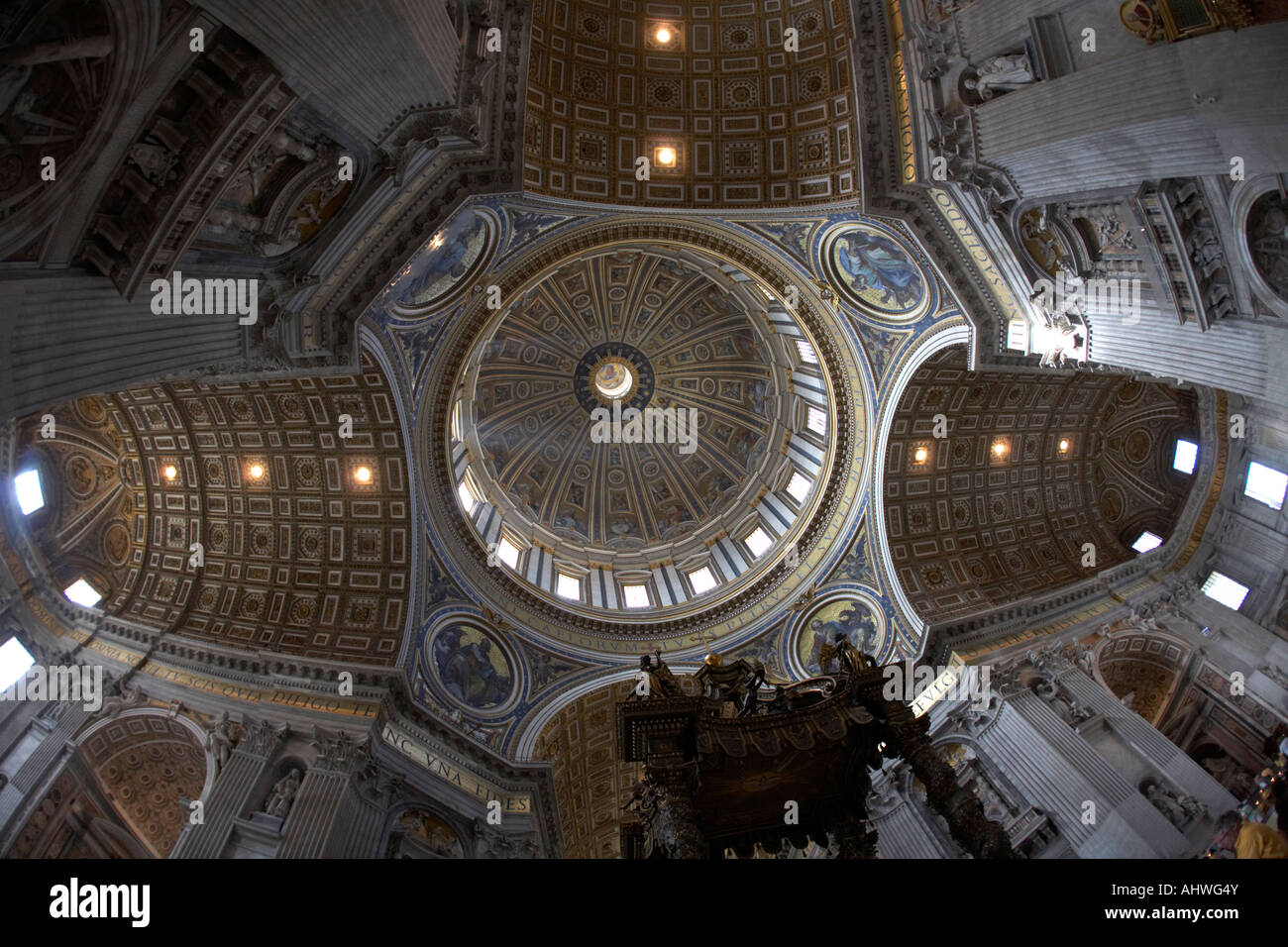 Looking up at the inside of the dome and ceiling of St Peters Cathedral Vatican City Rome Lazio Italy - Stock Image