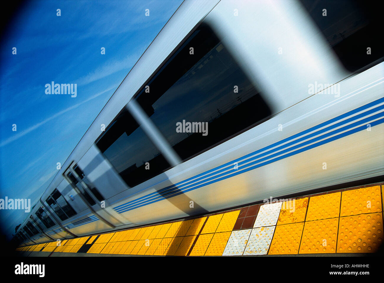 This is the Bart Metro Rail It is the Bay area rapid transit system It is a form of transportation The train is shown at an - Stock Image
