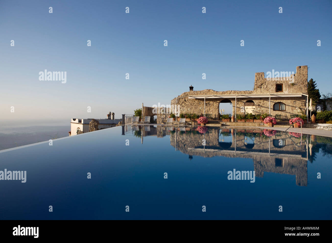 The infinity pool of the Hotel Caruso in Ravello, Italy, taken in the early morning sunrise - Stock Image