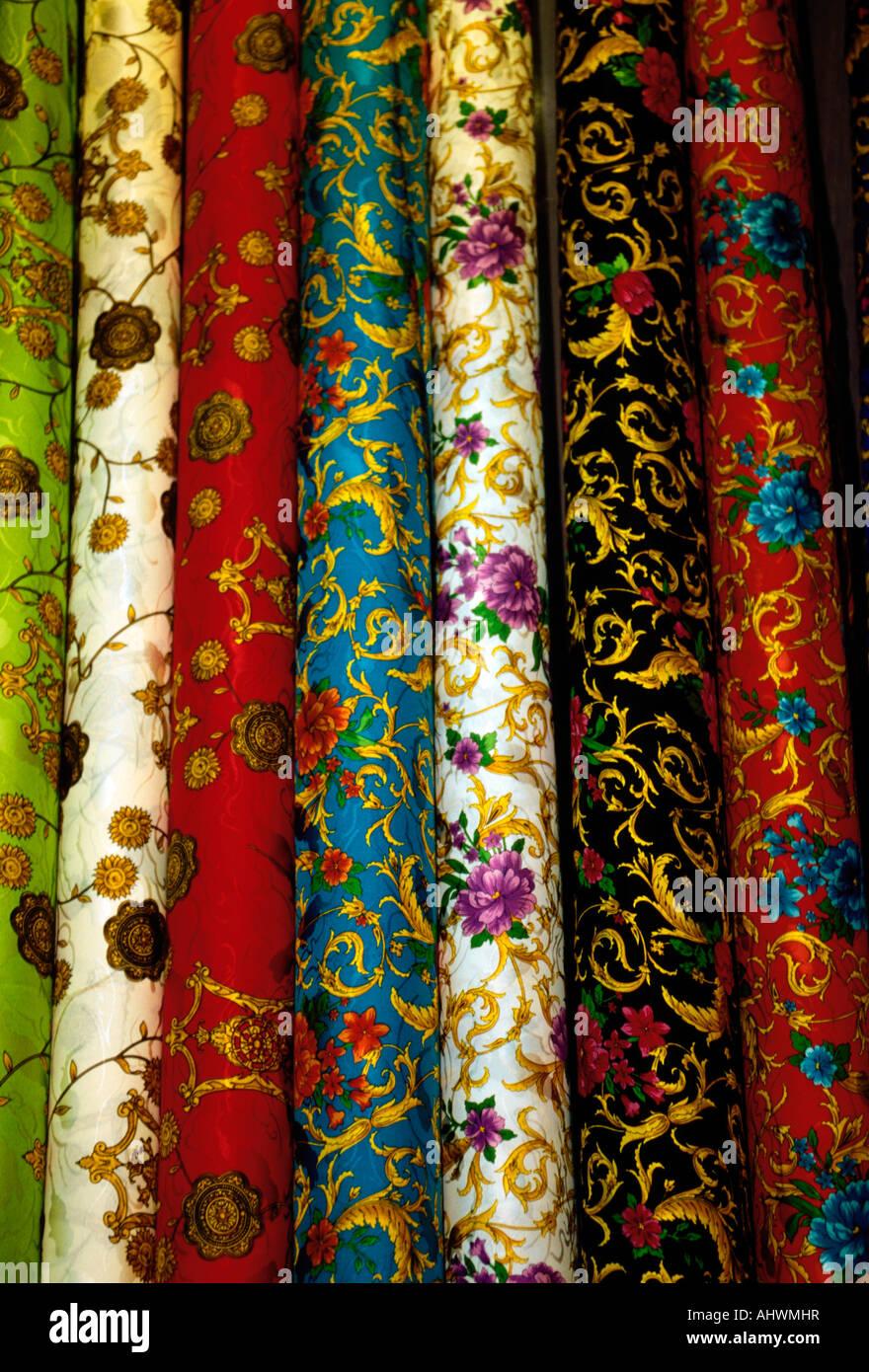 Chinese silk, Chinese silk fabric, silk fabric, Chinese silk cloth, silk cloth, bolt of silk, bolts of silk, shop, Stock Photo