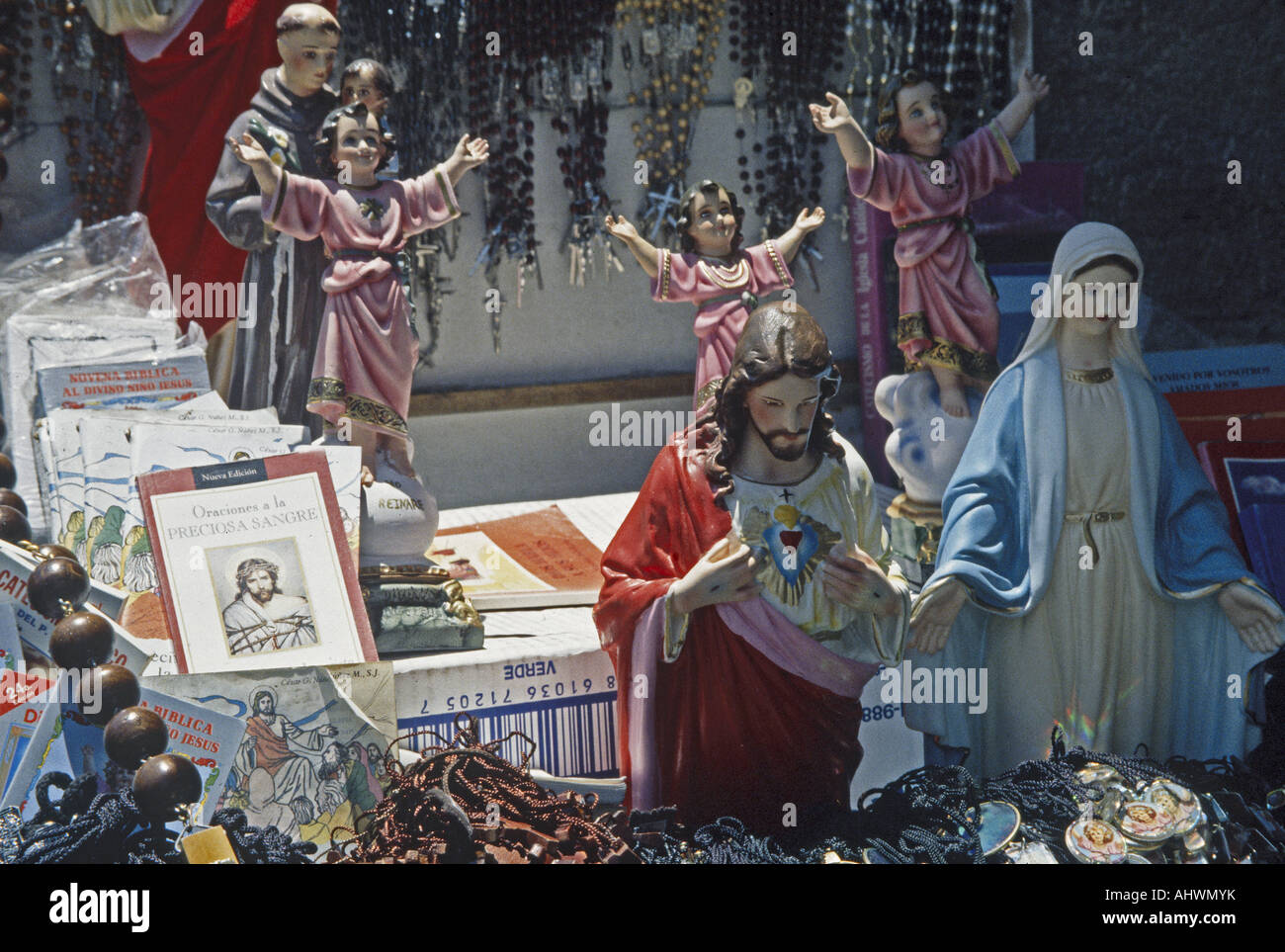 BOLIVIA shop selling Catholic devotional objects in the capital La Paz - Stock Image