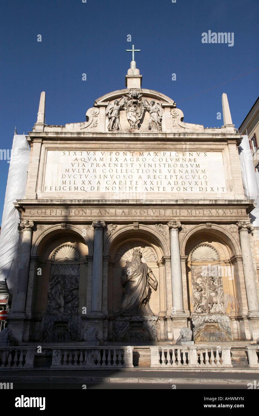 Moses Fountain Fontana dell Acqua Felice Rome Lazio Italy - Stock Image