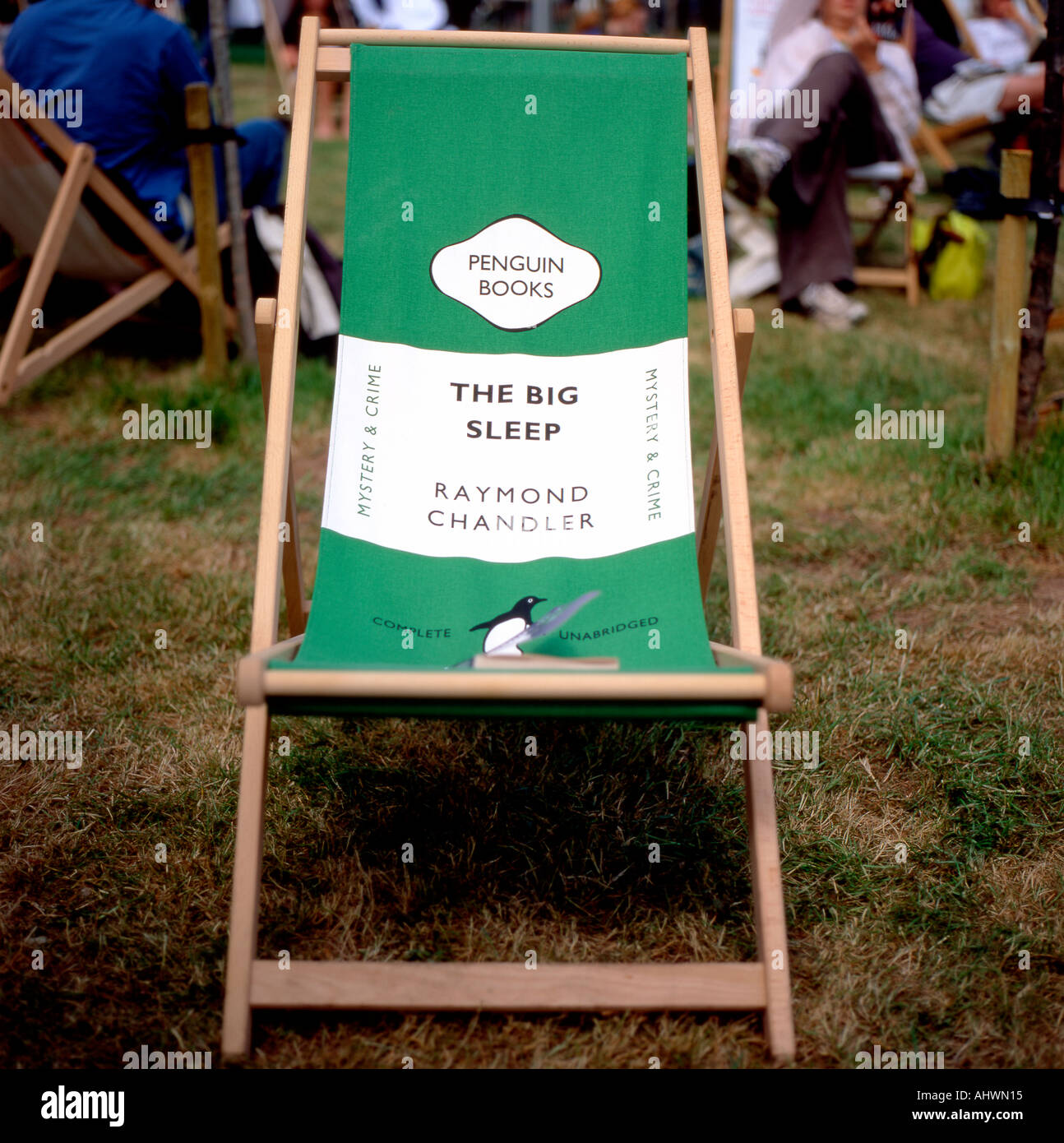 A Penguin Books book cover deckchair at the Hay Festival Hay on Wye Powys Wales UK - Stock Image