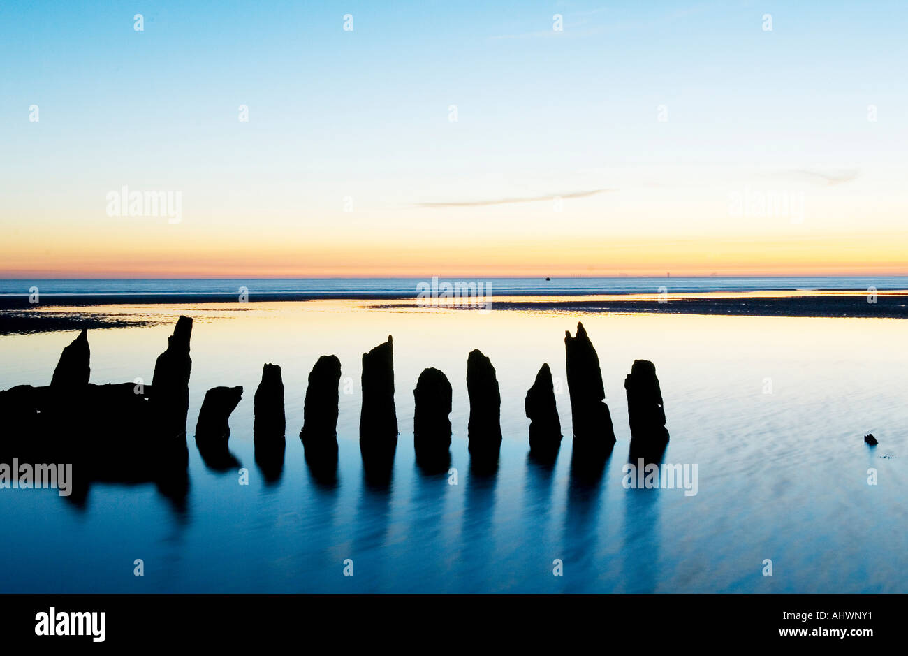 Timbers of old wooden ship sunk off the coast of Blackpool - Stock Image