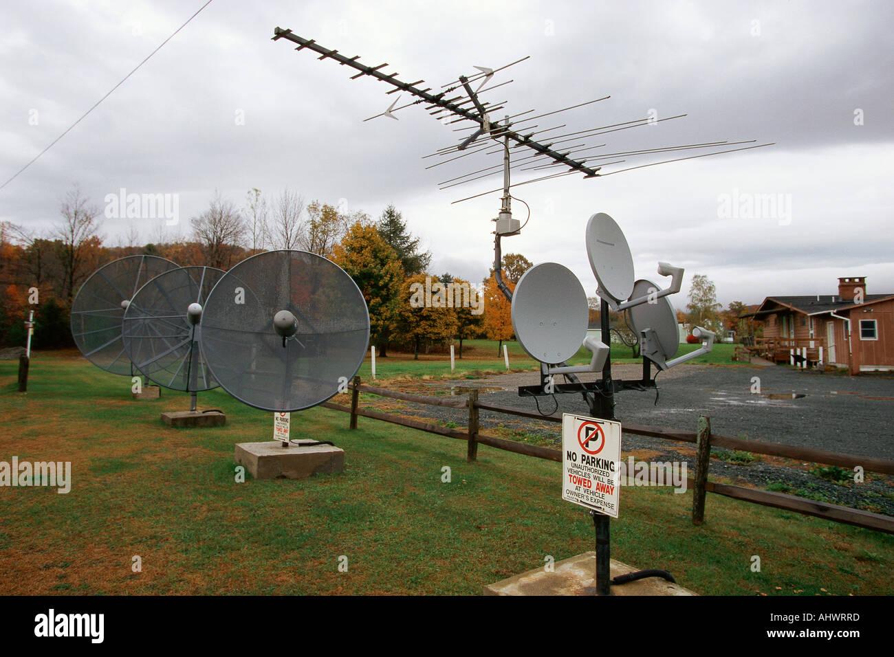 TV antenna and satellite dishes Stock Photo