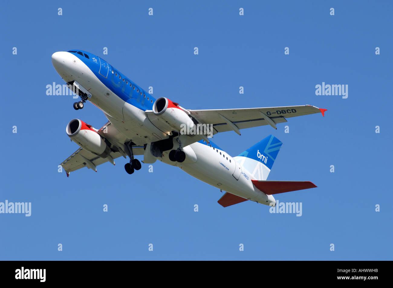 British Midland Boeing Airbus 319 Airliner.   XAV-338-307 - Stock Image