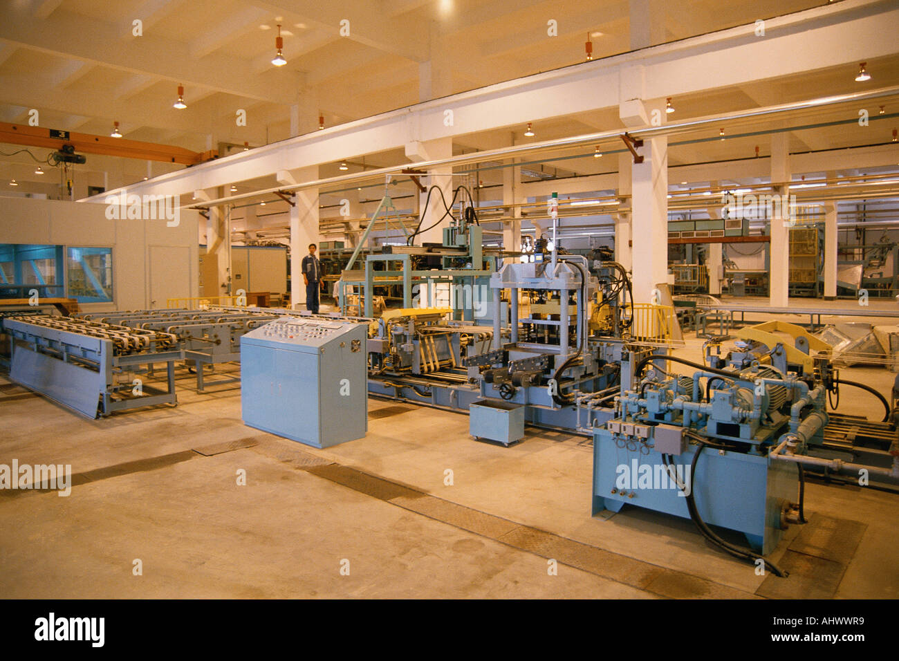Assembly line in appliance factory - Stock Image