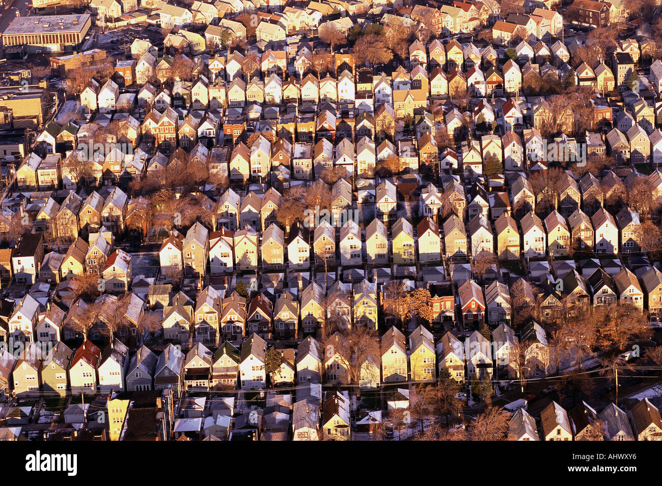 Aerial view of rows of rooftops - Stock Image