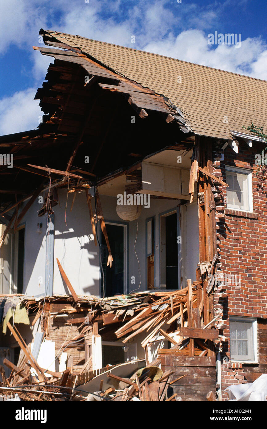 House ripped apart by natural disaster - Stock Image