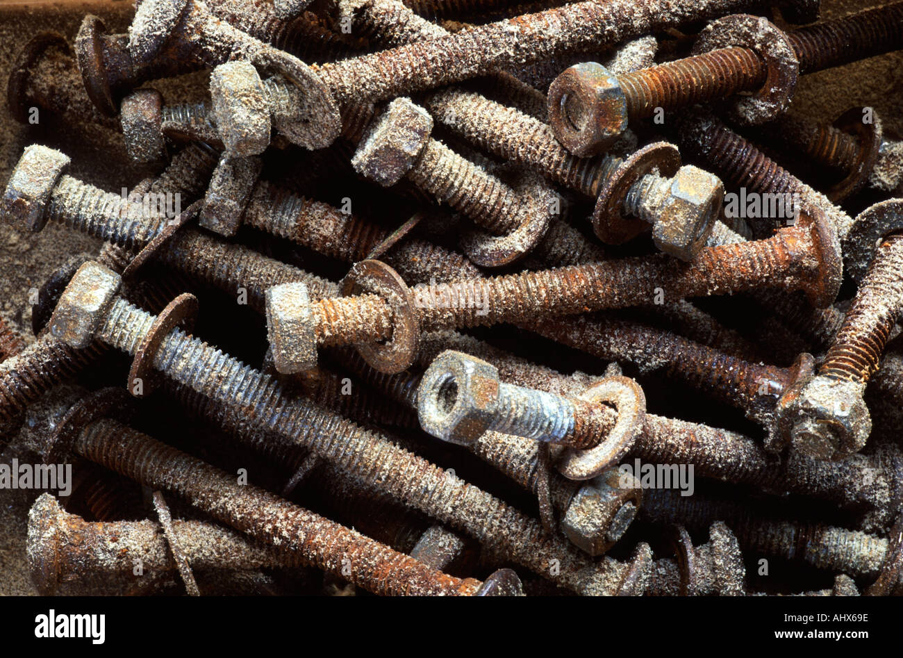 Rusty and dusty nuts bolts and washers Stock Photo