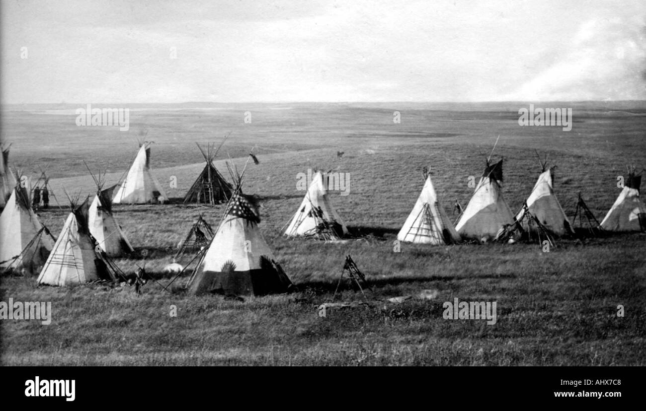 Cree Indian camp 1870 s - Stock Image