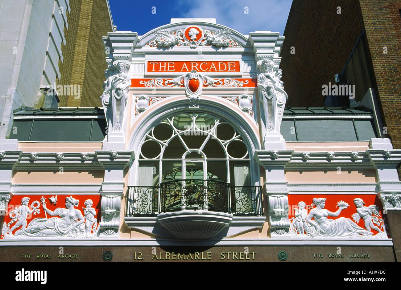 Facade of The Royal Arcade Albermarle Street London England - Stock Image