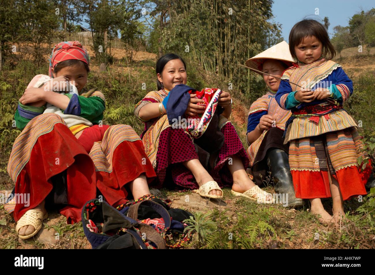 Women from the Flower Hmong Hill Trlbe, Bac Ha, near Sapa, Vietnam Stock Photo