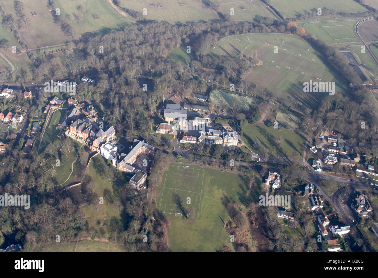 High level oblique aerial view north of St Mary s Abbey and Belmont School London NW7 England UK January 2006 - Stock Image