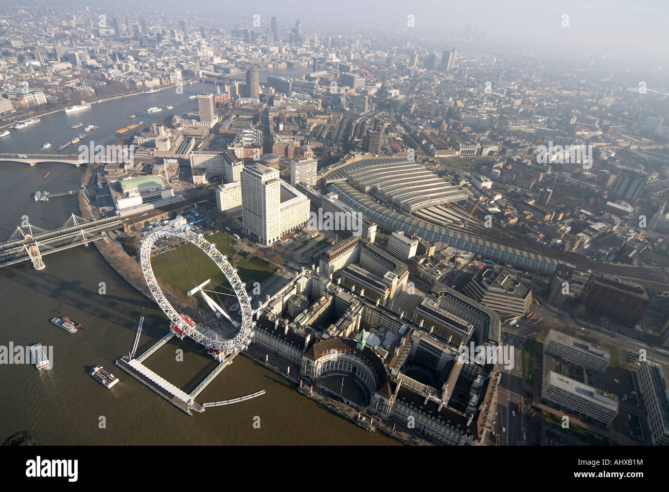 High Level Oblique Aerial View South East Of London Eye Waterloo Station Shell Building SE1 England UK January 2006