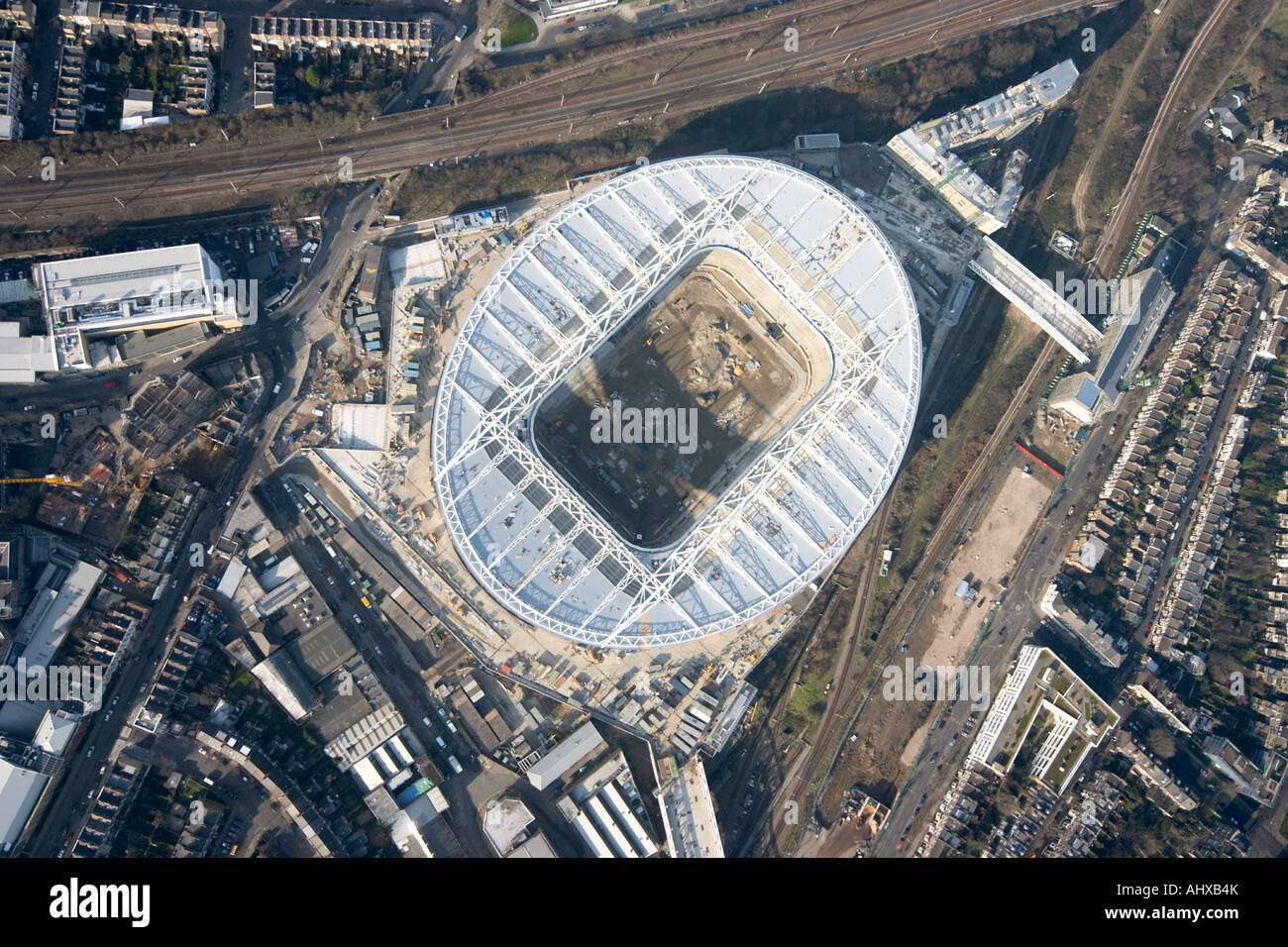 High Level Vertical Aerial View Of Arsenal Football Club Emirates Stadium Building Construction Site London N5 England UK Janua