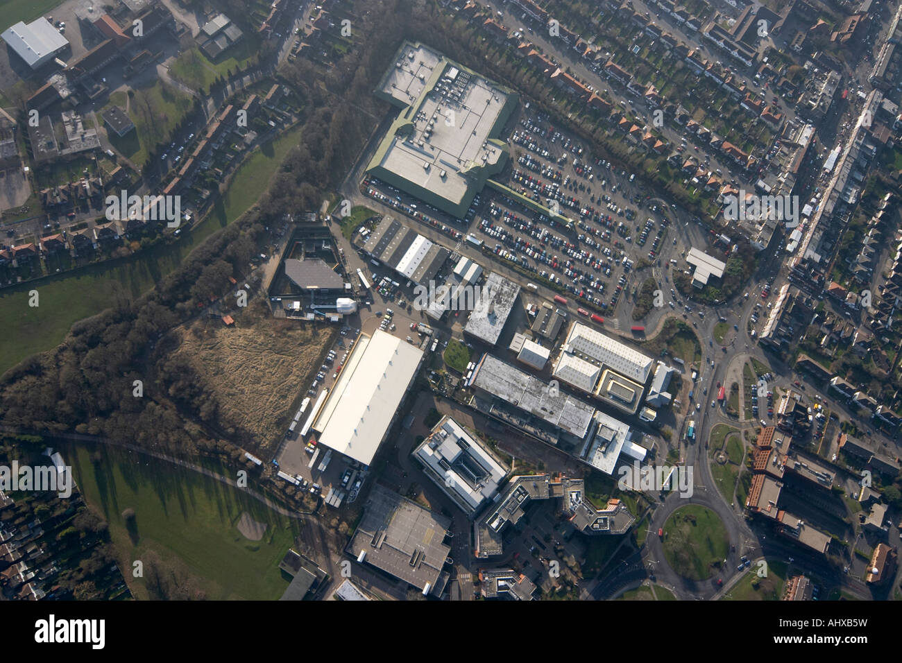 High level vertical aerial view overhead of Elstree Studios and Big Brother House London WD6 England UK January - Stock Image