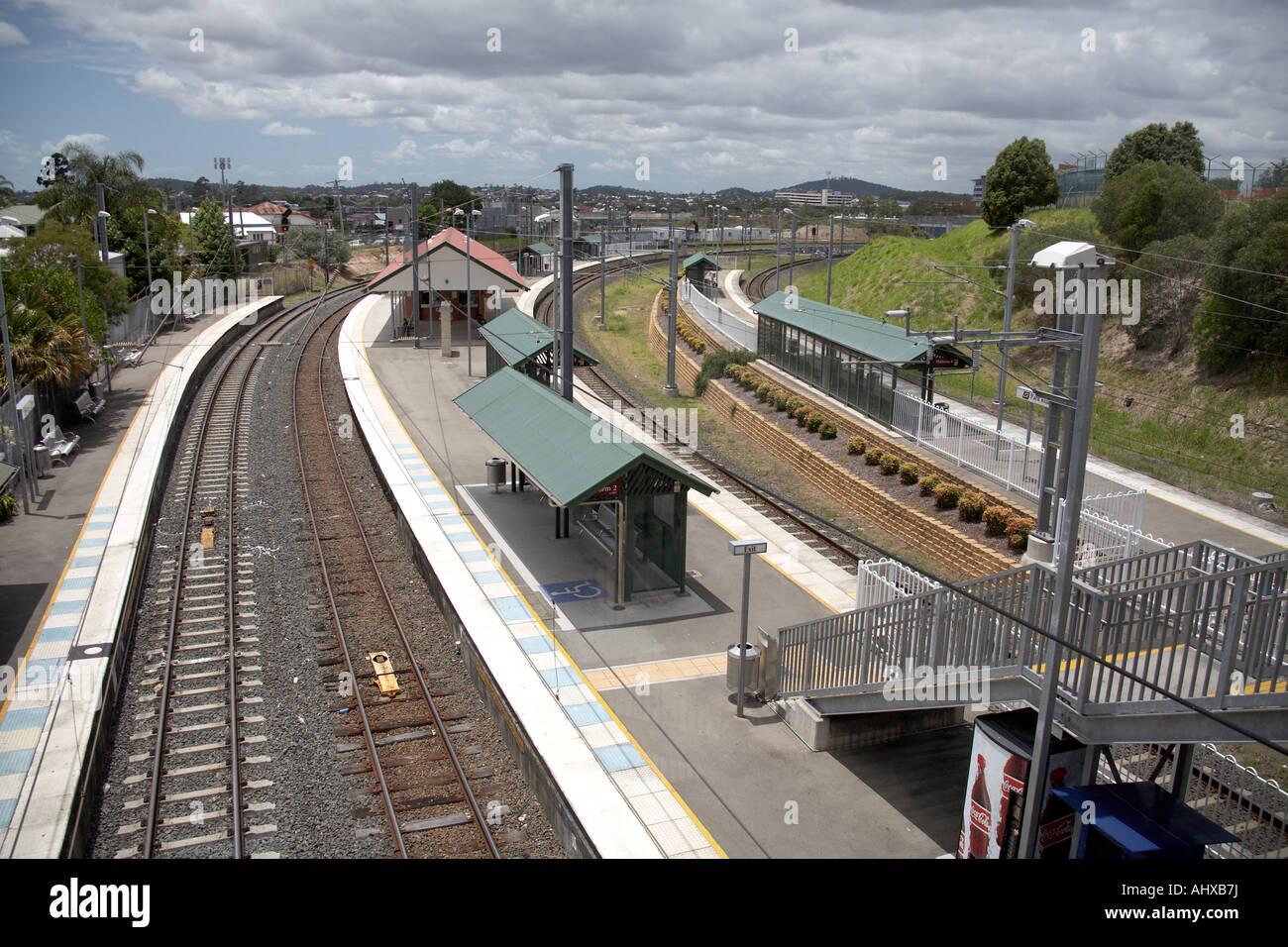 Suburban electric train at Park Road railway station in Brisbane Queensland QLD Australia - Stock Image