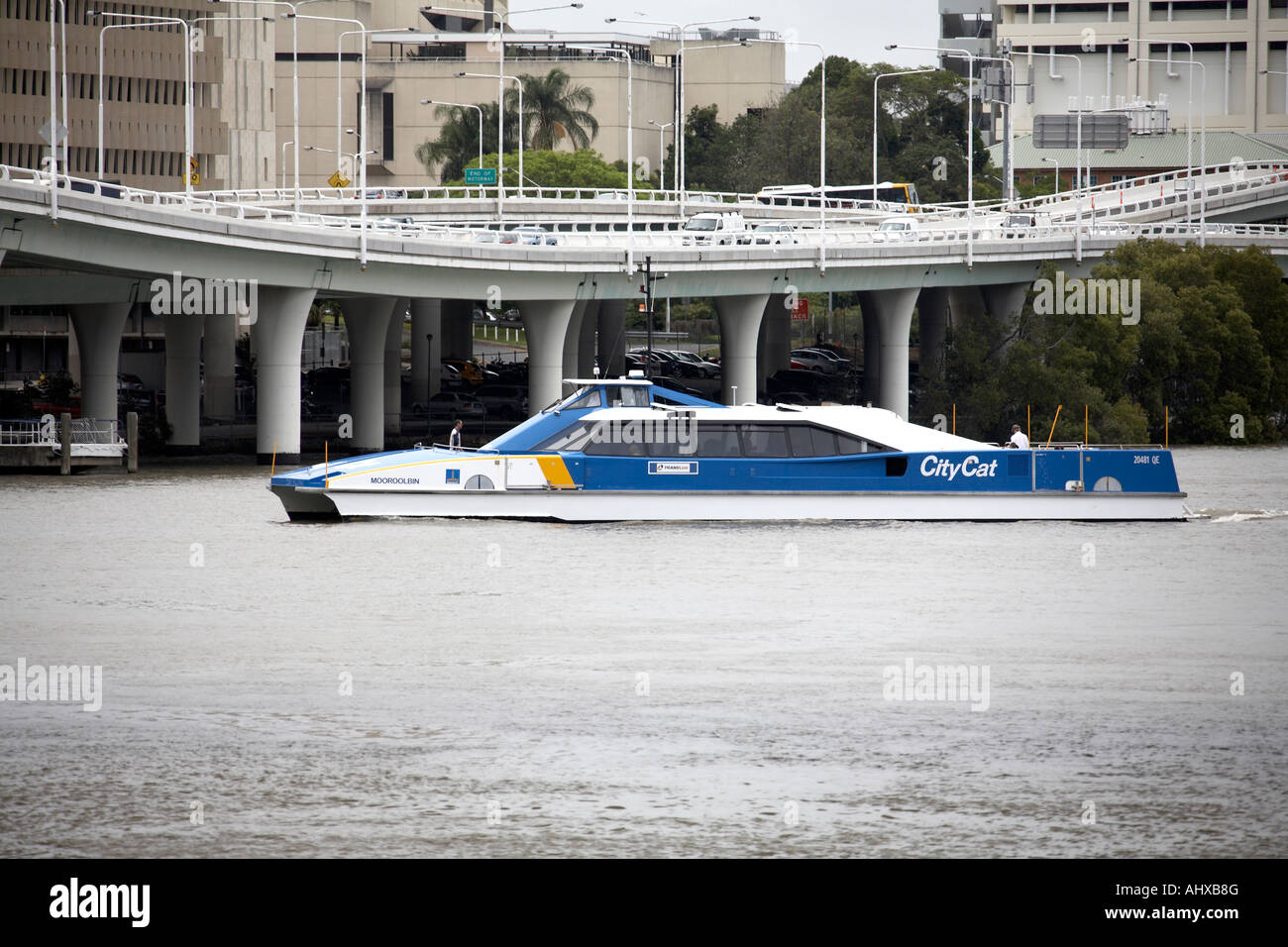 City Cat Catamaran high speed ferry with flyovers in Brisbane Queensland QLD Australia - Stock Image