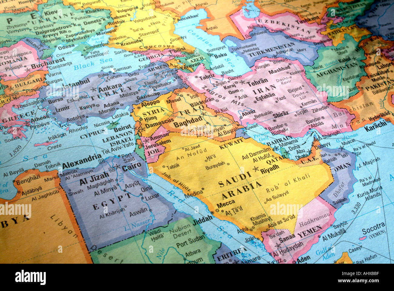 World Map Countries Continents.Illustrated World Map With Countries And Continents Stock Photo