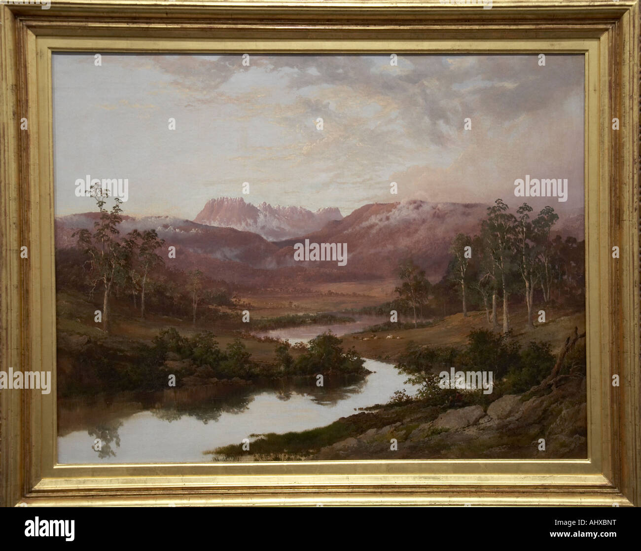Ben Lomond oil painting by WC Piquenit in old Art Gallery Brisbane Queensland QLD Australia - Stock Image