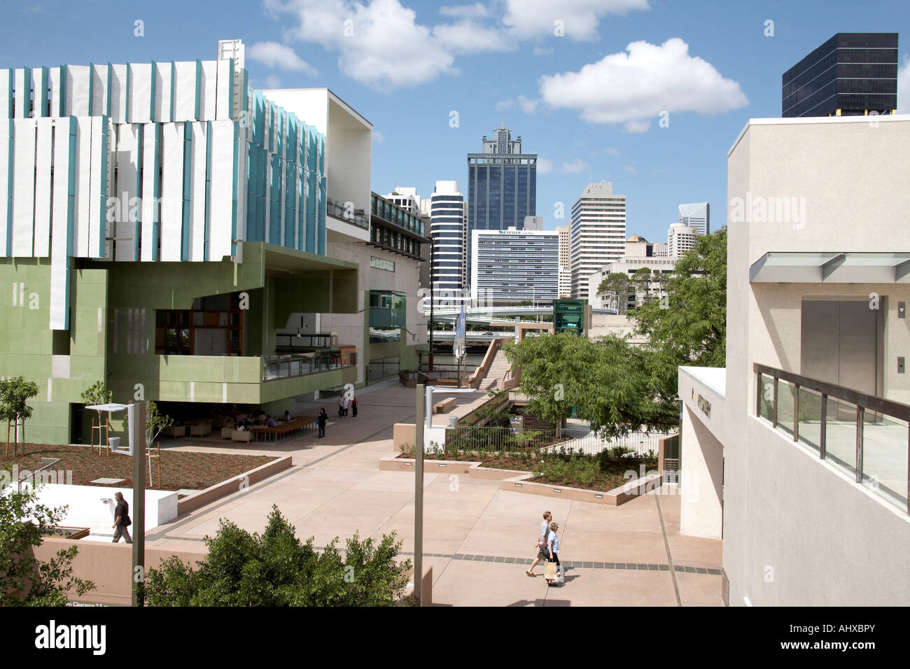Central Business District between State Library and art gallery building in Brisbane Queensland QLD Australia - Stock Image