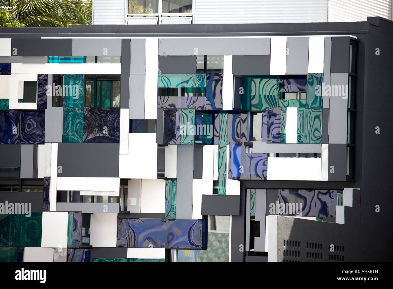 Abstract rectangular face of contemporary building on South Bank in Brisbane Queensland QLD Australia - Stock Image