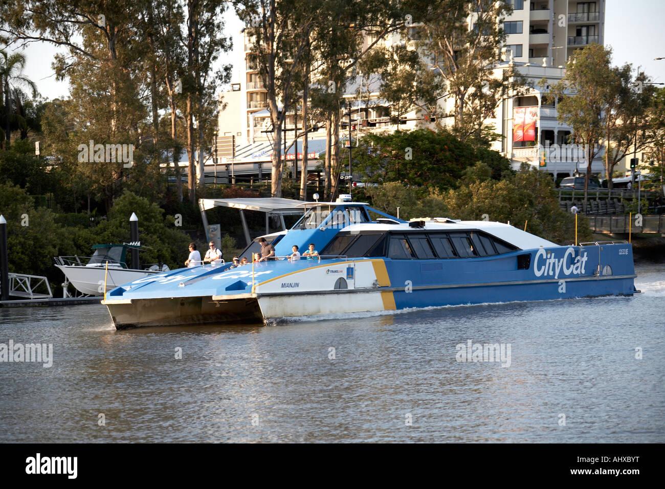 CityCat catamaran ferry on the Brisbane River in Brisbane Queensland QLD Australia - Stock Image