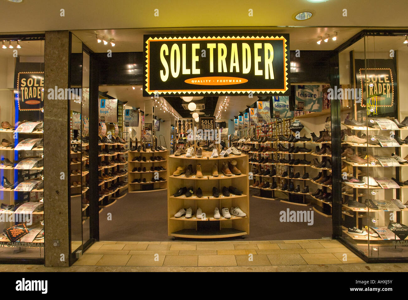 Sole Trader shoe shop at the Harvey Shopping Centre in Harlow, Essex, UK - Stock Image