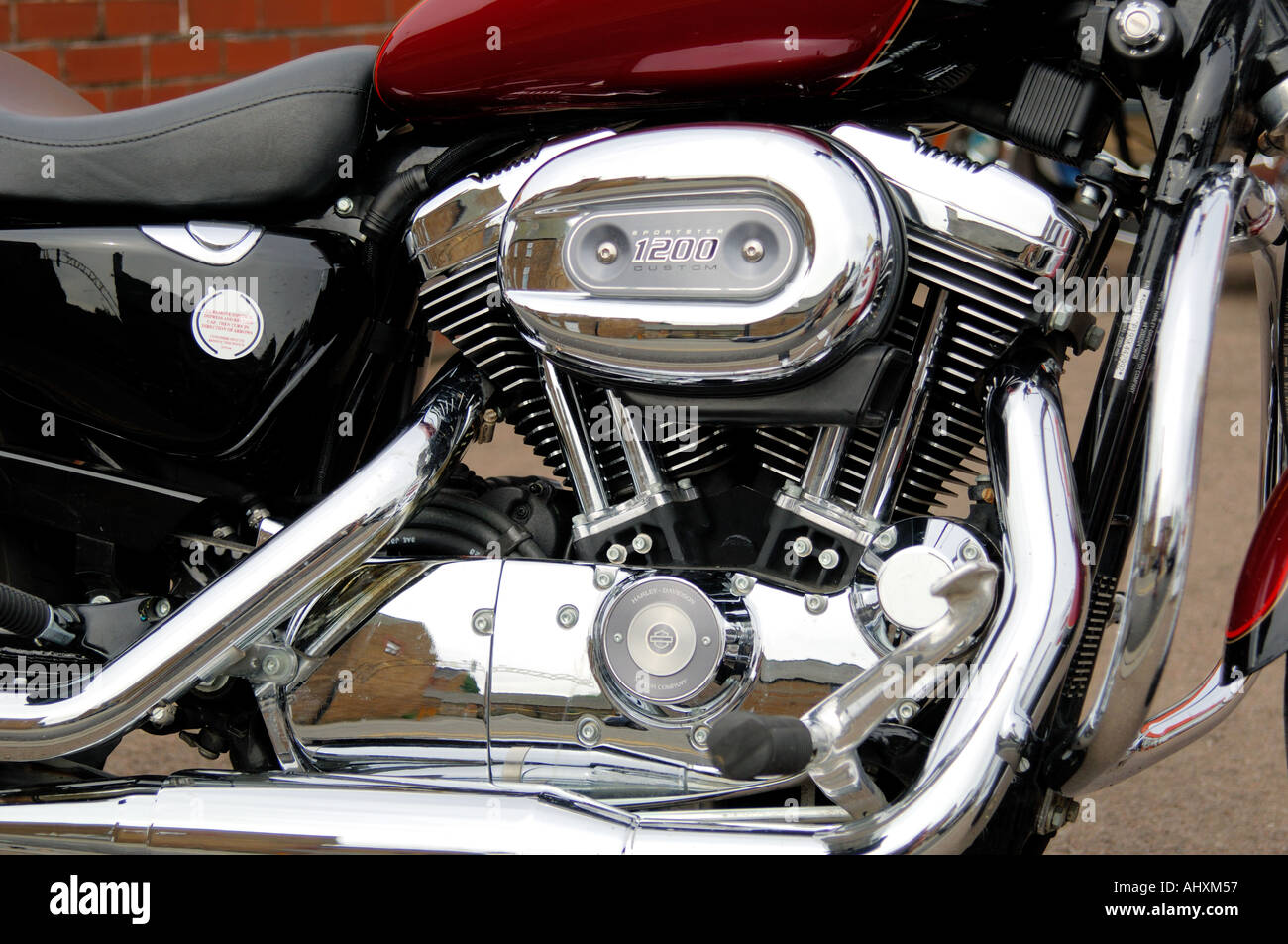 Close up of a V twin engine of a Harley Davidson Sportster ...