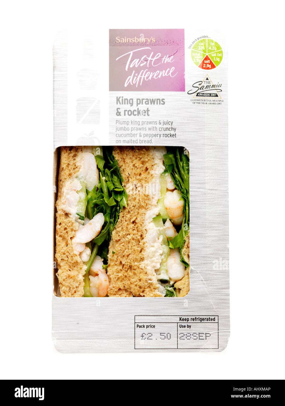 King Prawns and Rocket Sandwich - Stock Image