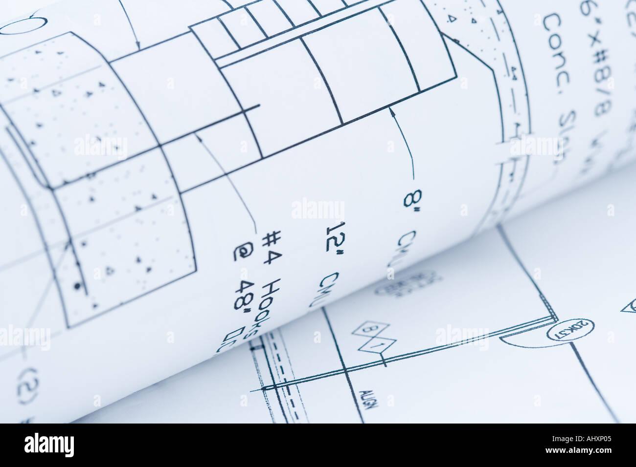 Closeup of blueprints - Stock Image