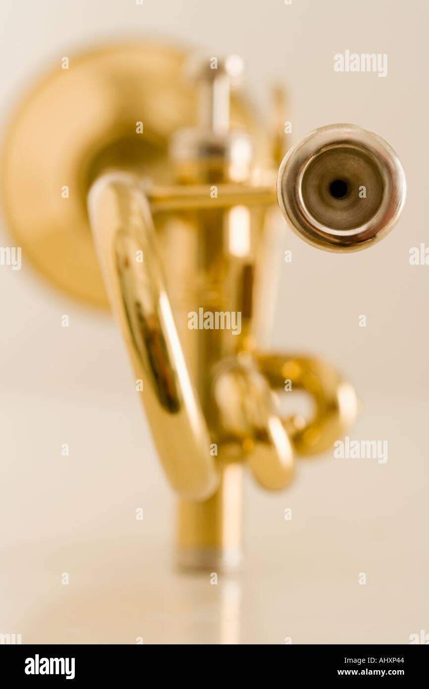 Closeup of trumpet mouthpiece - Stock Image