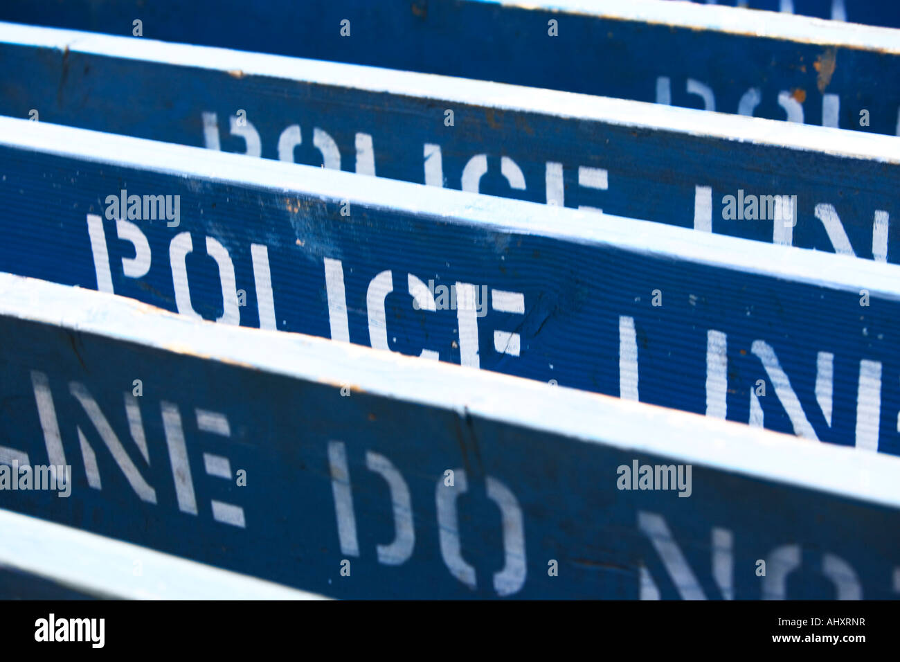 Row of Police Line barriers - Stock Image