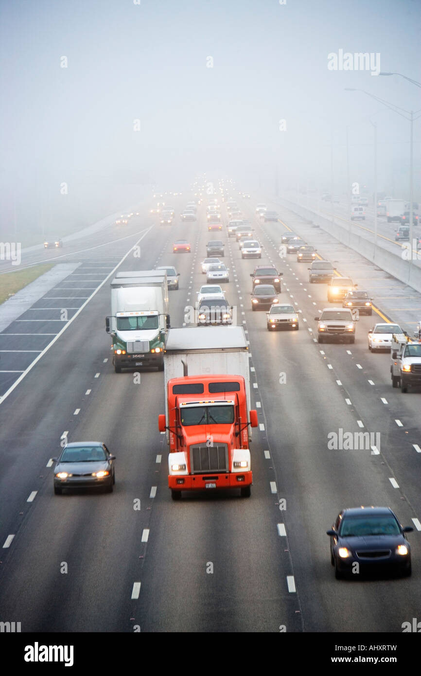Traffic on large highway - Stock Image