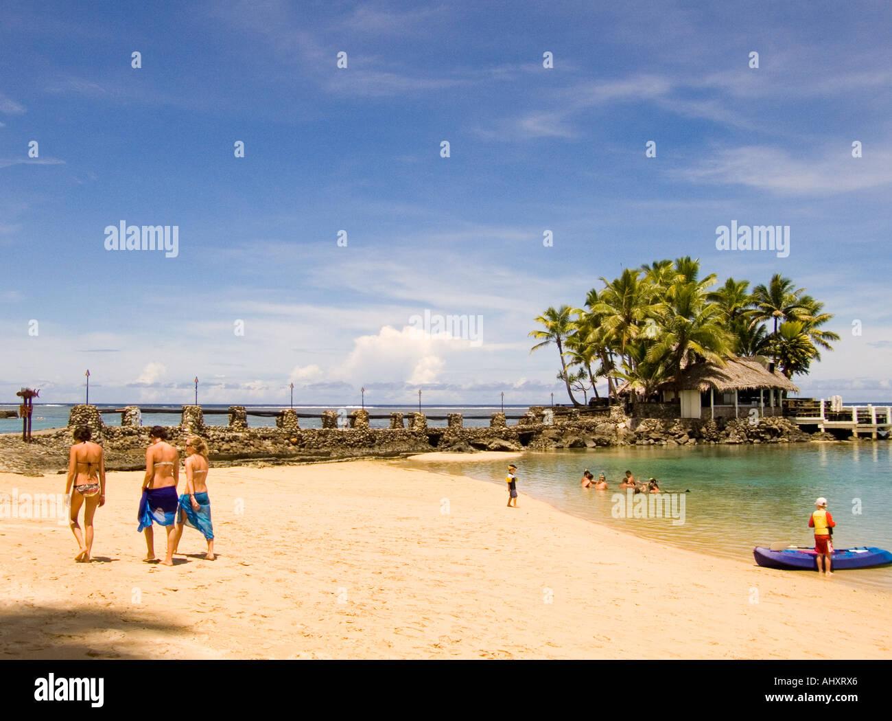 private beach on fiji's coral coast - Stock Image