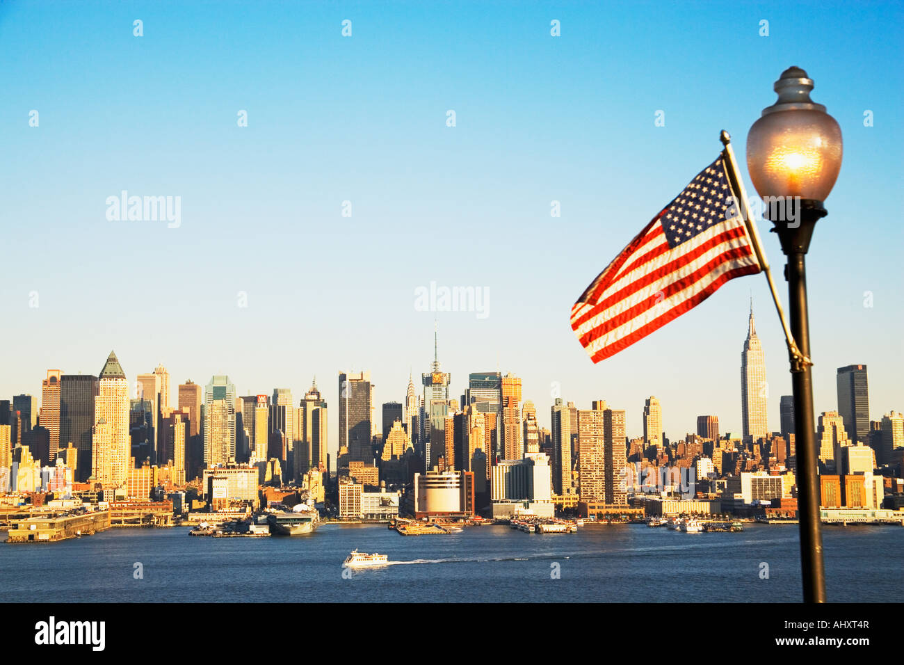 New York City Skyline And American Flag