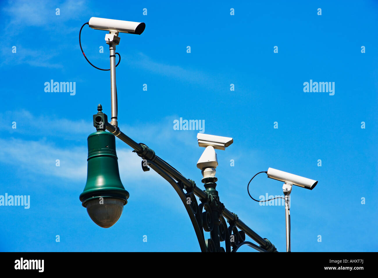 Security cameras on lamp post - Stock Image