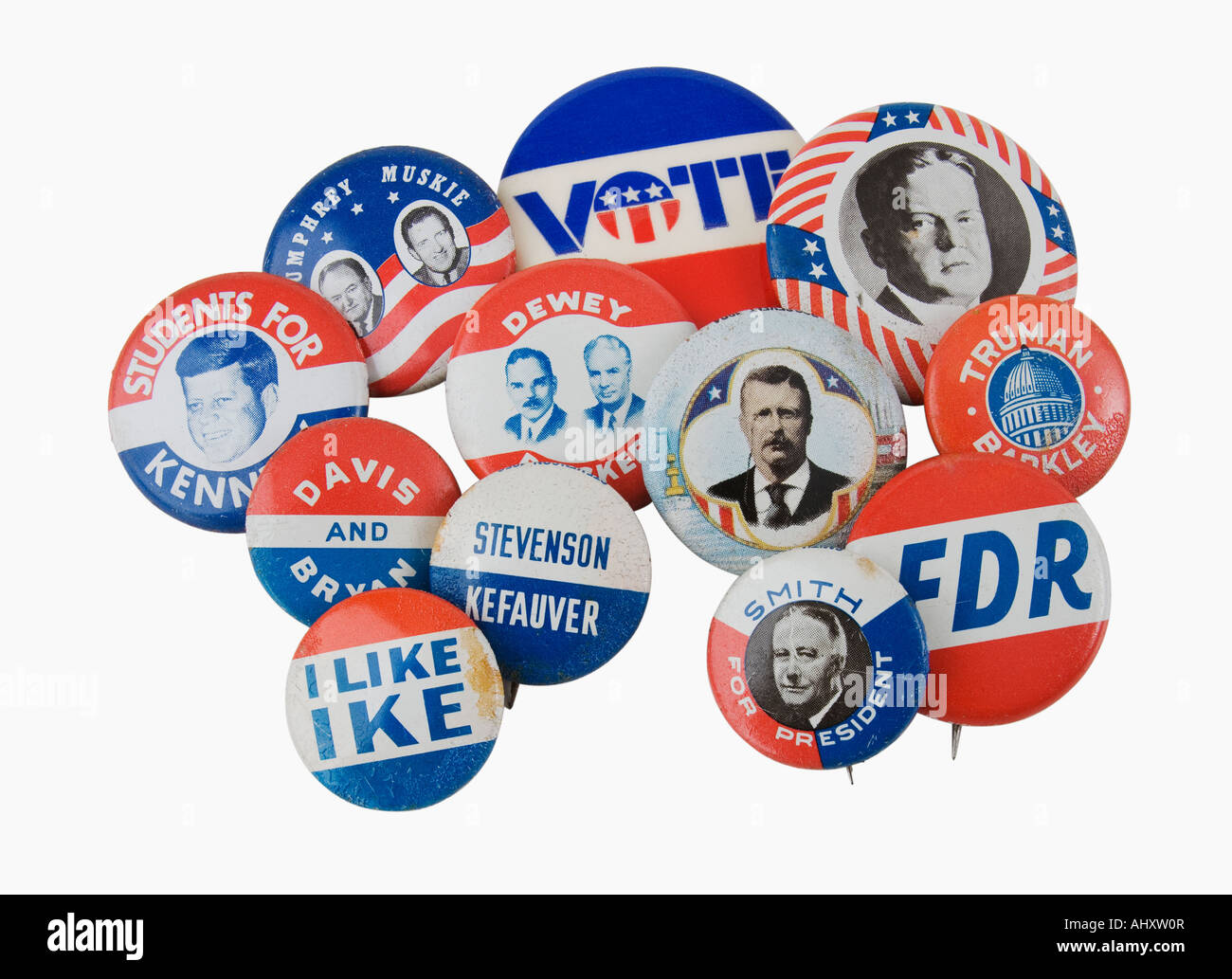Close up of assorted presidential election pins - Stock Image