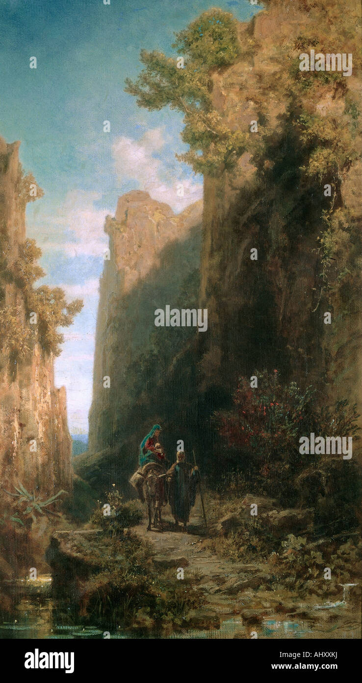 """fine arts, Spitzweg, Carl (1808 - 1885), painting, ""Escape to Egypt"", Kurpfälzisches Museum, Heidelberg, Germany, Stock Photo"