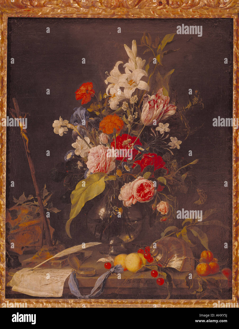 """fine arts, Heem, Jan Davidsz de, (1606 - 1684), painting, ""flower still life with crucifix and skull"", circa 1630, Stock Photo"
