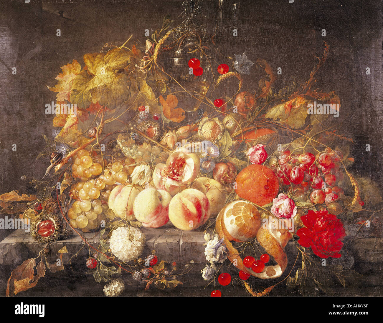 'fine arts, Heem, Jan Davidsz de, (1606 - 1684), painting, 'still life', oil on panel, 55,8 cm x 73,5 - Stock Image