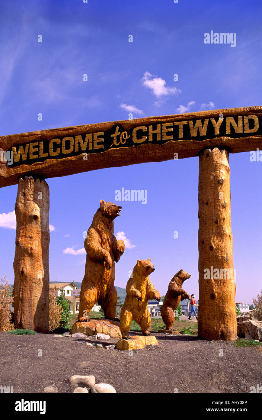 Chainsaw wood carving welcome to chetwynd sign in