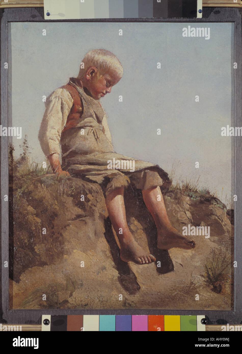 'fine arts, Lenbach, Franz von, (1836 - 1904), painting, 'Knabe in der Sonne', ('boy in the sun'), - Stock Image